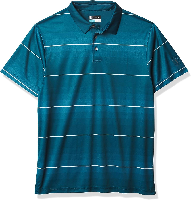 PGA TOUR Mens Standard Short Sleeve Gradient Stripe Printed Polo Shirt