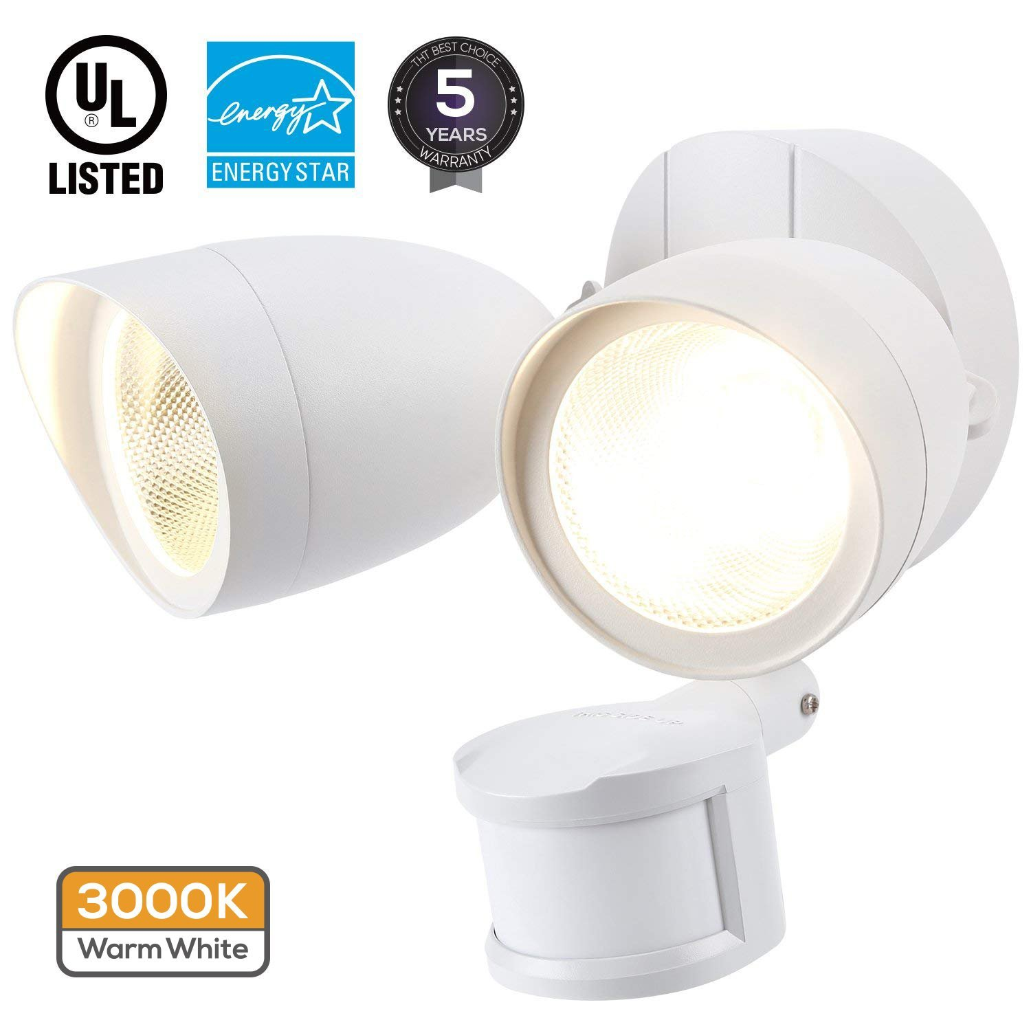 LEONLITE Dual-Head Motion-Activated LED Outdoor Security Light, White Finish 20W (120W Equiv.), 1400lm, UL & Energy Star Certified Exterior Flood Light, 3000K Warm White, 5 Years Warranty