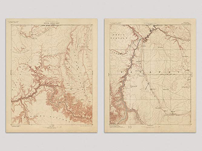 Map Of Arizona And Grand Canyon.Amazon Com Old Grand Canyon Map Art Print Arizona 1903 Vintage