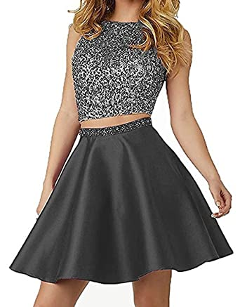 Lilyla Womens Juniors Two Piece Homecoming Dress Short Satin Beaded Prom Dresses Black US0