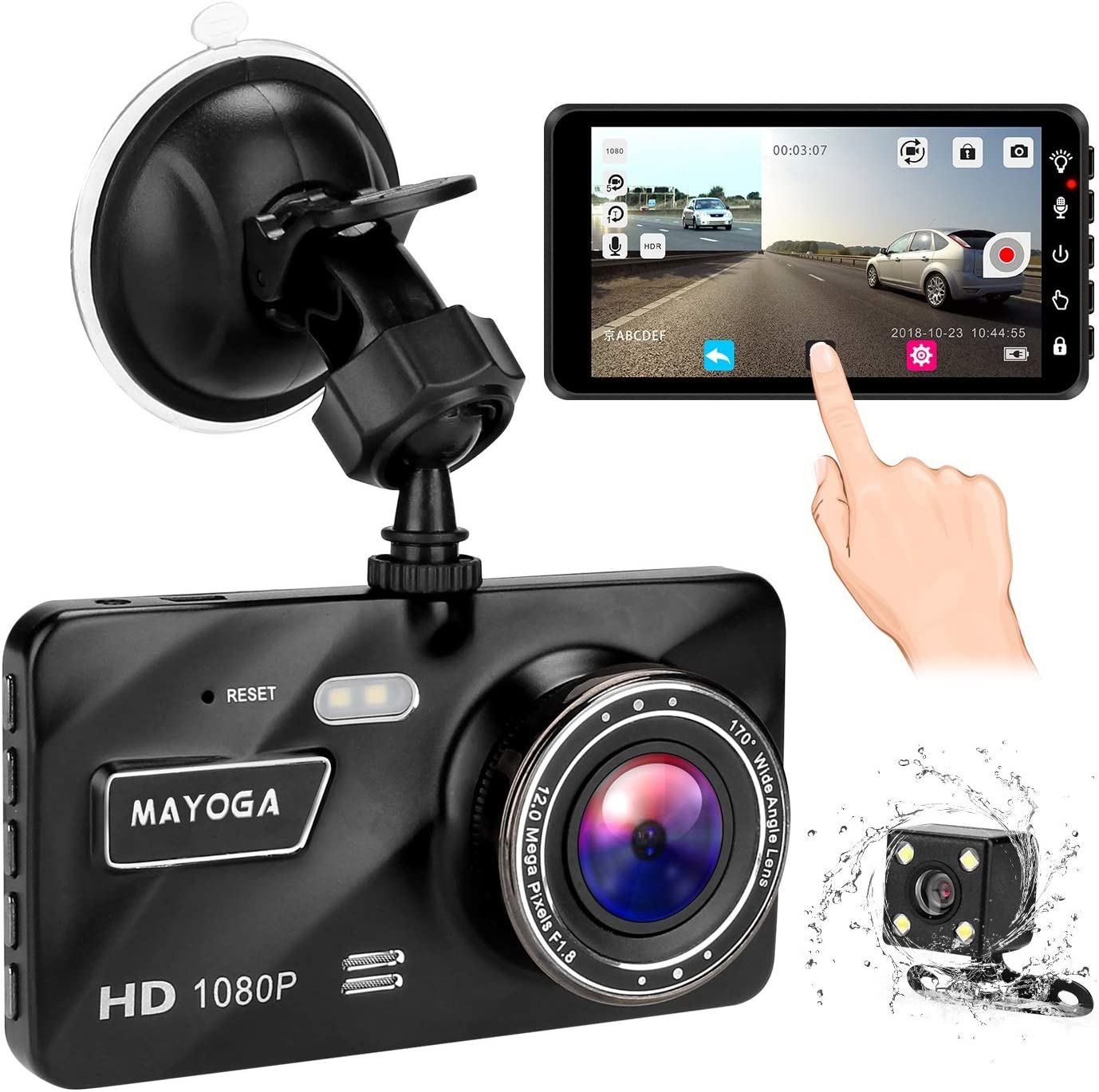 MAYOGA Dash Cam 1080P Car Dashboard Camera Wide Angle Driving Camera Recorder 4.0 inch HD IPS Display and 170 Degree Wide Angle View