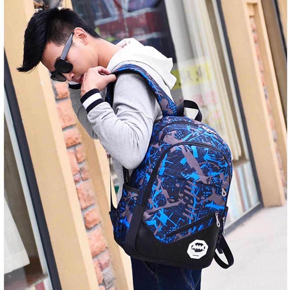 Pocciol Backpack, Girls Boys Rucksack 3PCS Shoulder Bookbags+Messenger Bag+ Handbag Waterproof Oxford Fabric (Blue) by Pocciol (Image #2)