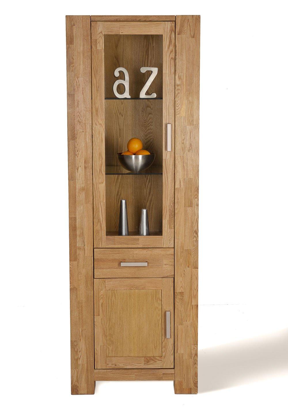 SAM® Schmale teilmassive Wildeiche Glas Vitrine Zeus 1605-01 Linksanschlag Vitrine 190 x 65 cm Glasvitrine mit Glaseinsatz hinter der Glastür eine Schubladen und eine Holztüren mit Holz Einlageboden bereits montiert Auslieferung durch Spedition
