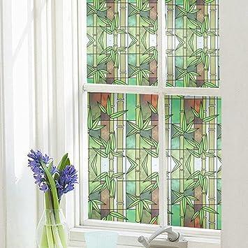 LikeSnow 3D No-glue Privacy Window Film Stained Glass Cling Heat Control Anti UV Decorative & Amazon.com: LikeSnow 3D No-glue Privacy Window Film Stained Glass ...