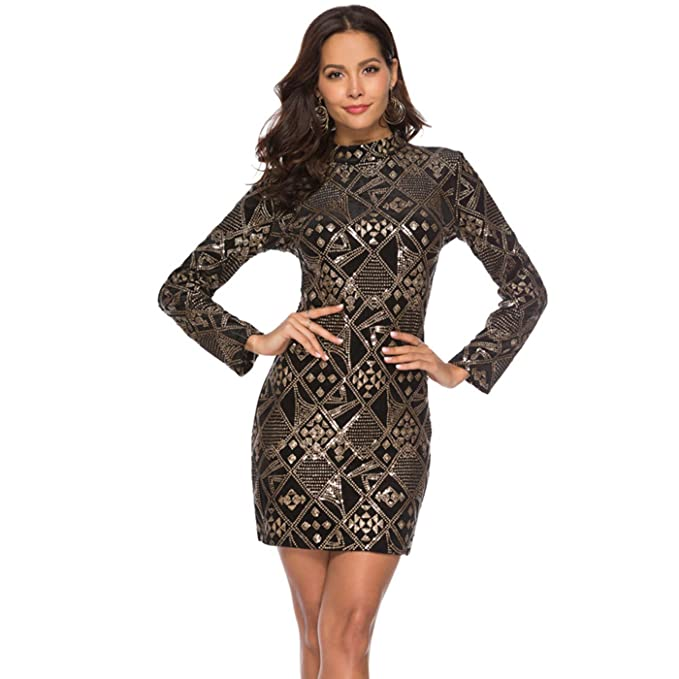 3b0190848ffa QOCAOFIG Women's Sequin Bodycon Dress,Sparkle Glitter Geometric Tattoo Long  Sleeve Sexy High Neck Stretchy