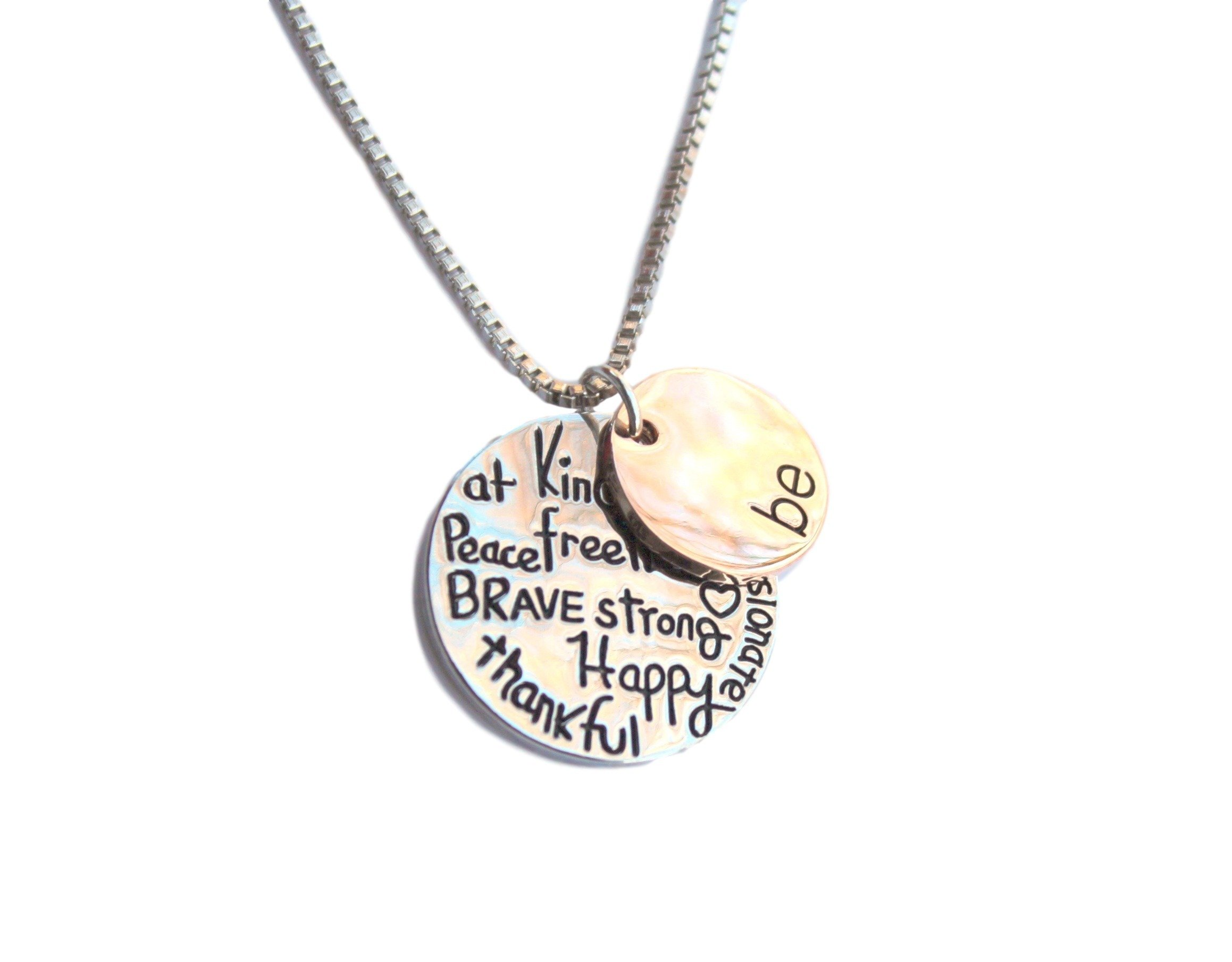 Just Be Pendant Necklace Thankful, Kind, Passionate, Happy, Brave, Free, Shoppingbuyfaith