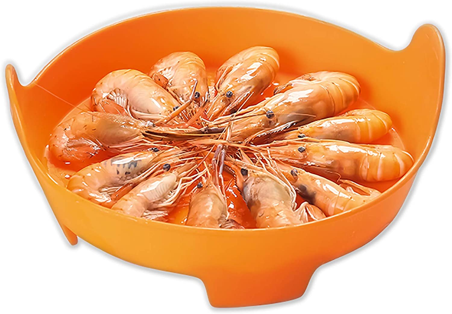 Liflicon Silicone Vegetable/Food Steamer Basket with Handles -φ8''x3.7''-Insert for Pot, Pans, Crock Pots- Multifunctional also as a colander-Microwave and Dishwasher Safe,Heat Resistant-Orange