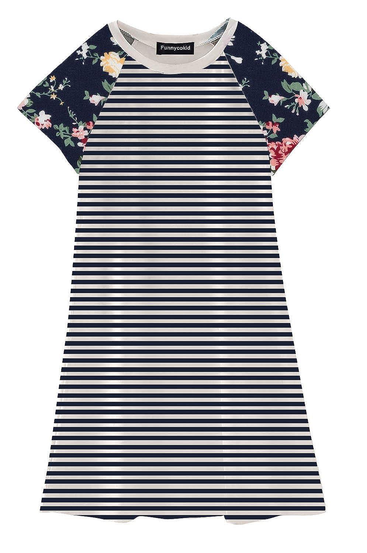 Funnycokid Girls Short Sleeve Tunic Dress Baby Toddler T-Shirt Dresses 2-11 Years