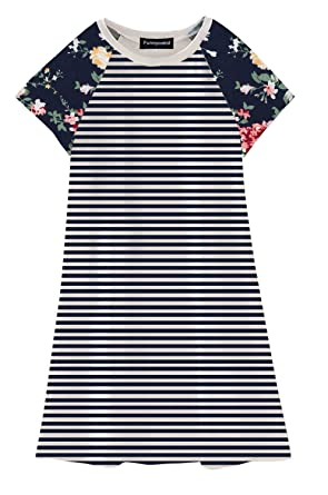f6e8cce4ba5 Amazon.com: Funnycokid Girls Short Sleeve Tunic Dress Baby Toddler T ...