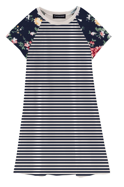 Funnycokid Girls Summer Dress Cute Print Casual Short Sleeve Dress for Toddler Kids