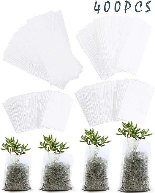 BcPowr 400 PCS Size Biodegradable Non-woven Nursery Bags Plant Grow Fabric Pots