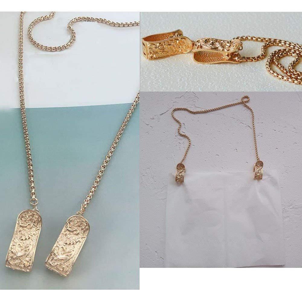 925 Sterling Silver Napkin Clip,Portable Napkin Holder Necklace Napkin Chain Bib Holder Clip for Adults (Gold)