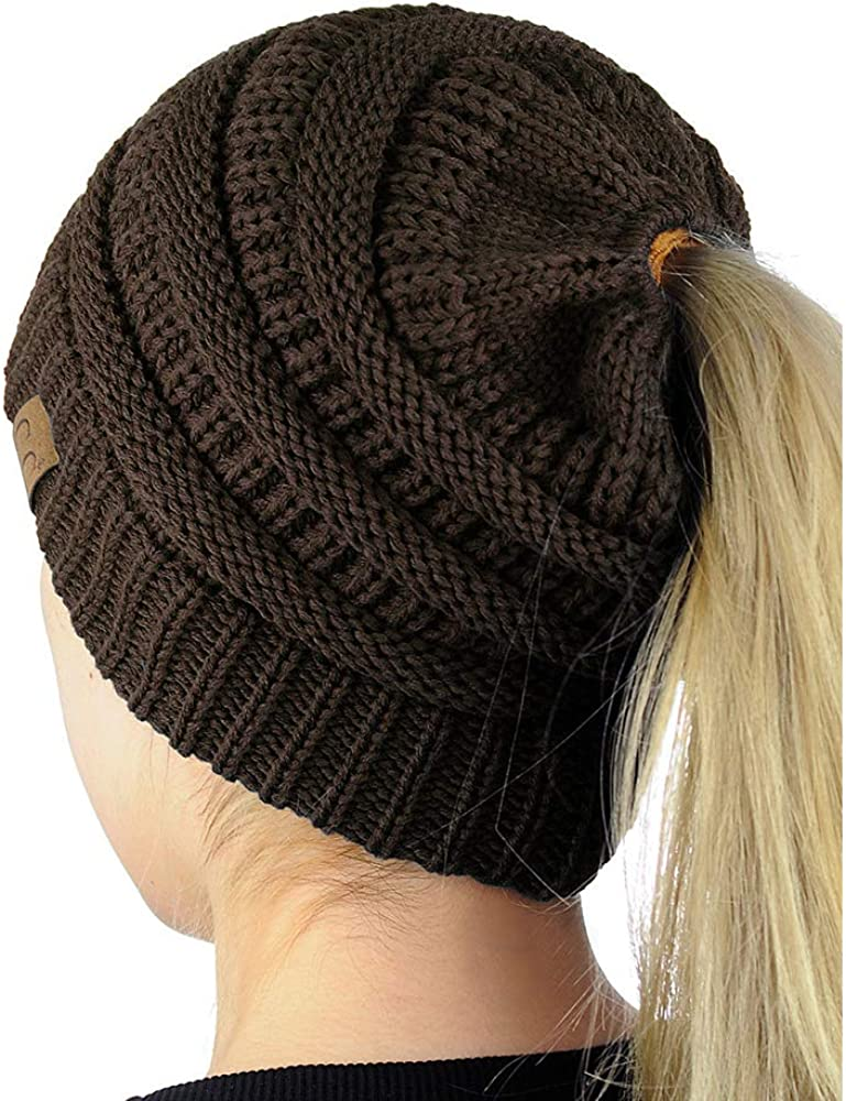 Ponytail Beanie Hat Soft Stretch Cable Women Winter Warm Knit Hat Brown EB9016
