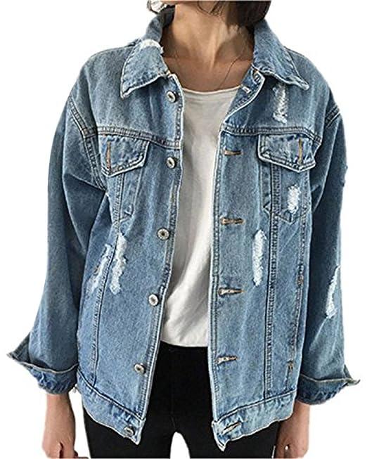 Minetom Mujer Otoño Invierno Chaquetas De Mezclilla Abrigo Manga Larga Denim Jacket Casual Estilo Suelto Ripped Jeans Abrigos Outwear: Amazon.es: Ropa y ...