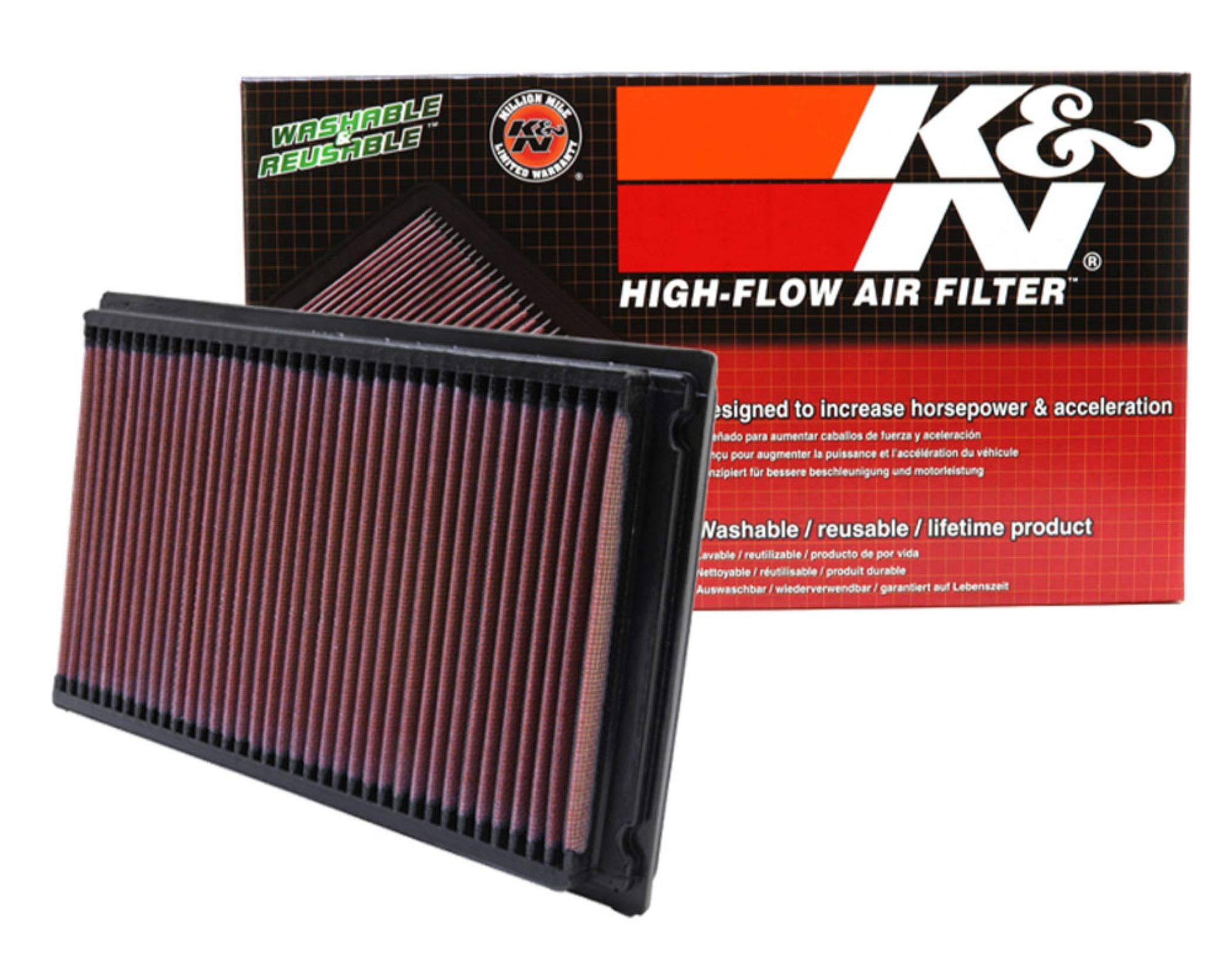 K&N engine air filter, washable and reusable:  1981-2019 Nissan/Infiniti/Renault L4/V6 (Maxima, Murano, Pathfinder, Altima, Elgrand, Quest, Terena, X-Trail, QX60, FX35) 33-2031-2 by K&N