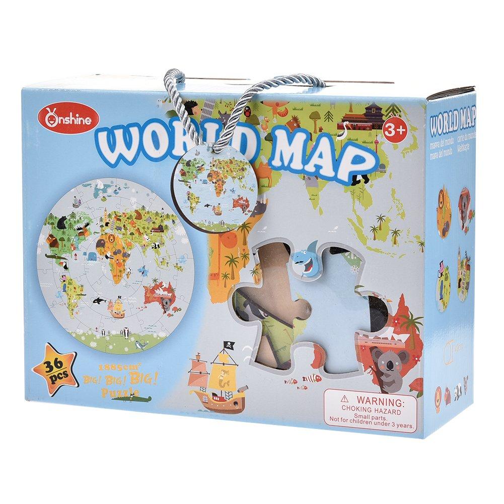Luerme Kids World Map Puzzle Universe Planet Solar Jigsaw Puzzle, 48 x 48cm (World Map)