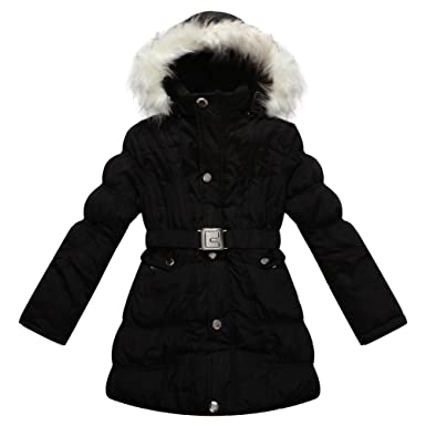 7bf62bd00 Richie House Girls  Padded Winter Jacket with Belt and Faux Fur Hood ...