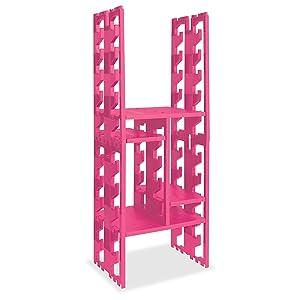 "Lockerbones - 12"" Plastic (Pink) Locker Shelf Organizer as Seen on Shark Tank"