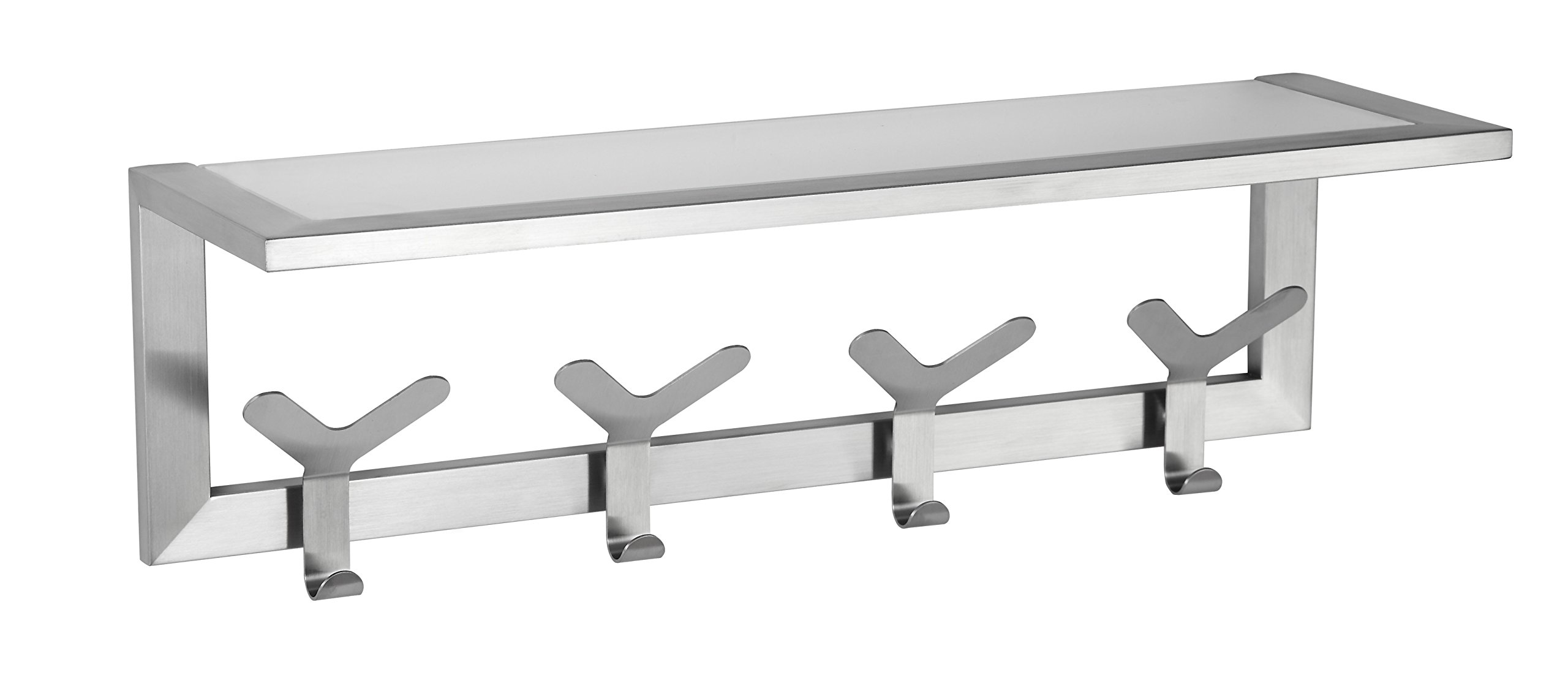 Cortesi Home Milton Contemporary Stainless Steel Multipurpose Hook Rail/Rack with Glass Shelf, Brushed Aluminum