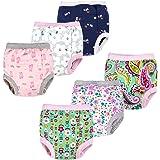 BIG ELEPHANT Baby Girls' Toddler Potty 6 Pack Padded Pure Cotton Pee Training Pants Underwear