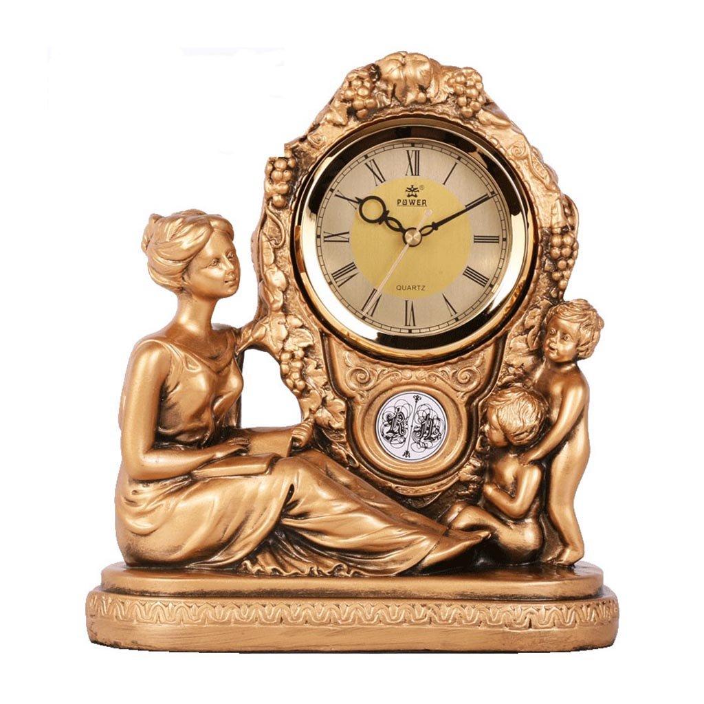 CFJRBリビングルーム卓上メタルクォーツ時計、ヴィンテージレトロミュート卓上時計棚の時計装飾 B07BTZC9TK