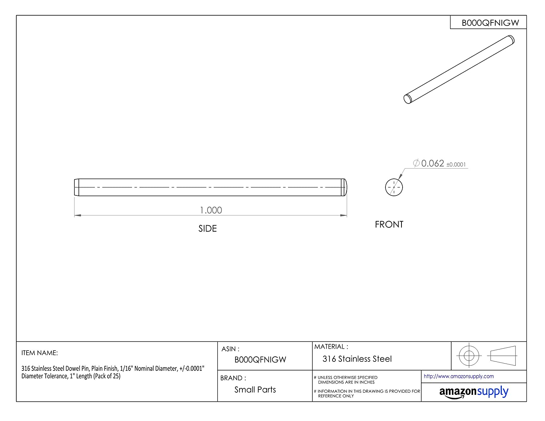 Pack of 25 +//-0.0001 Diameter Tolerance 1-1//2 Length 1//8 Nominal Diameter Plain Finish 316 Stainless Steel Dowel Pin
