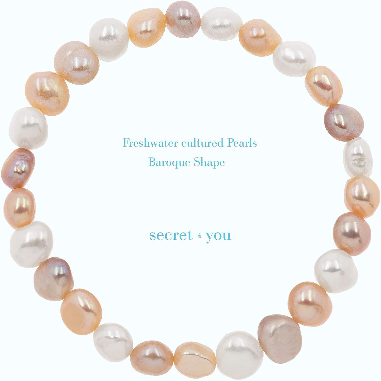 Le perle sono 8-9 mm 22 perle in totale Bracciale Secret /& You con perle coltivate dacqua dolce barocche bianche o colorate Disponibile in diversi colori 18cm di fascia elastica