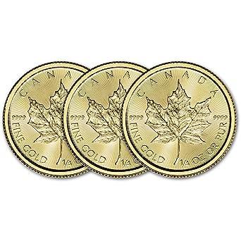 CA 2019 Canada Gold Maple Leaf (1/4 oz) THREE 3 Brilliant