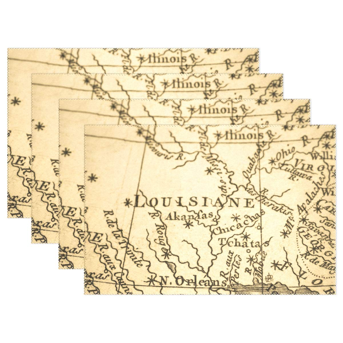 Top Carpenter 6pcs Old Map America New Orleans Placemat - 12x18in - Washable Heat Crease Resistant Printed Place Mat for Kitchen Dinner Table by