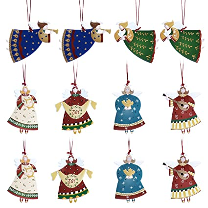 LUOEM 12PCS Angel Christmas Tree Decorations Xmas Home Decor Party Hanging Ornament Snow