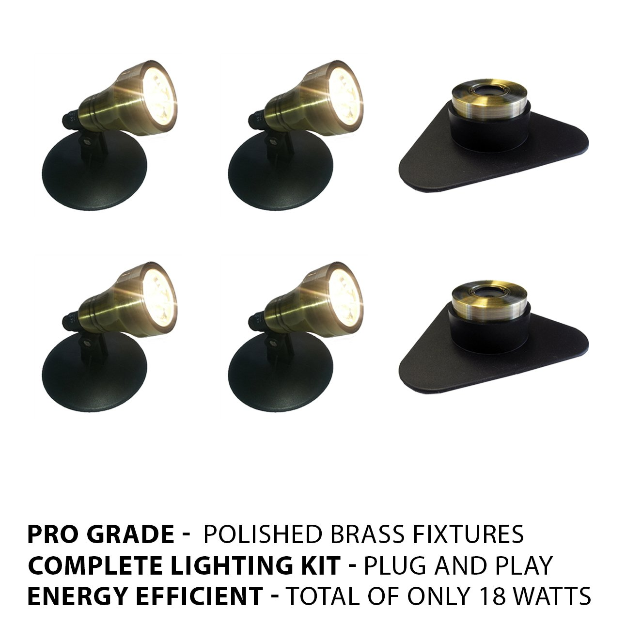 Patriot Brass LED Waterproof Pond and Landscape Lighting 18 Watt Light Kit P-D4 by Patriot