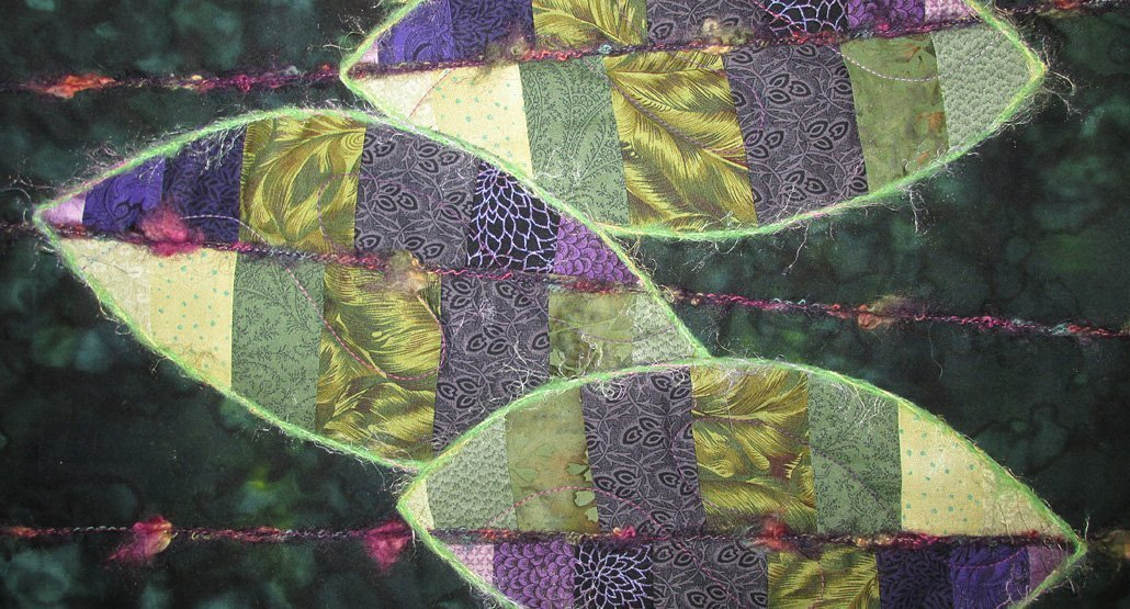 Fabric Wall Hanging, Fiber Art, Abstract Art Quilt, Leaves, Persian Shield