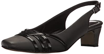 Easy Street Kristen Slingback Pumps Black Satin/Patent 7.5 N