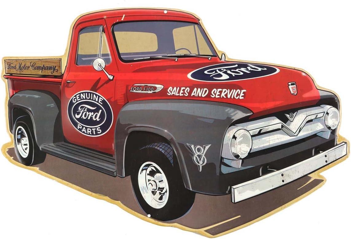 Classic F100 Ford Trucks Tin Sign..Built Ford Tough Pics Featuring 4 Trucks