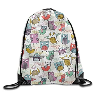 33c3b941d1 Image Unavailable. Image not available for. Color  Cute Owl Printed Designs  Drawstring Backpack Women Heavy Duty Shoulder Bag ...