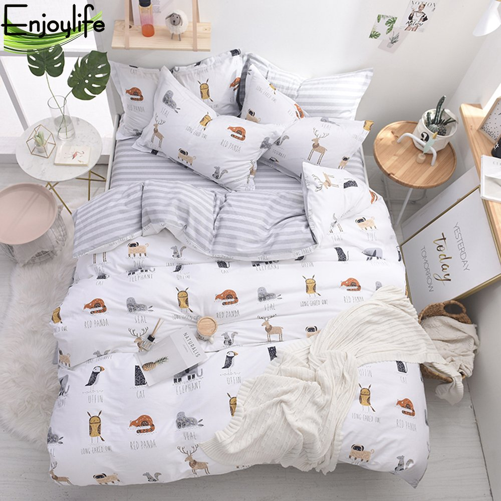 Enjoylife Cute Animal Reversible 3pcs Bedding Set Printing Cartoon Cute pet Duvet Cover Super Soft for Children/Adults 100% Cotton Comforter Cover Full Queen Size