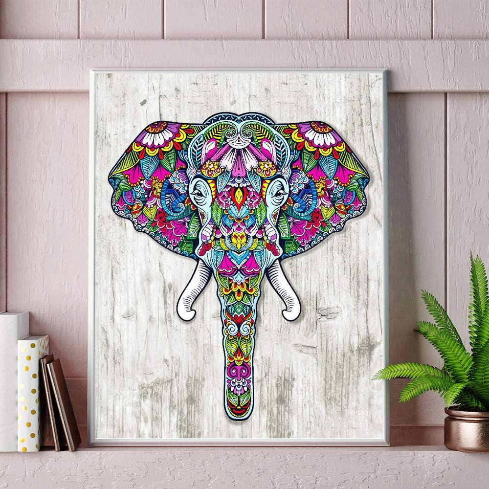 12x16inch DIY 5D Diamond Painting by Number Kits Full Drill Rhinestone Embroidery Cross Stitch Pictures Arts Craft for Home Wall Decor Two Colorful Elephants