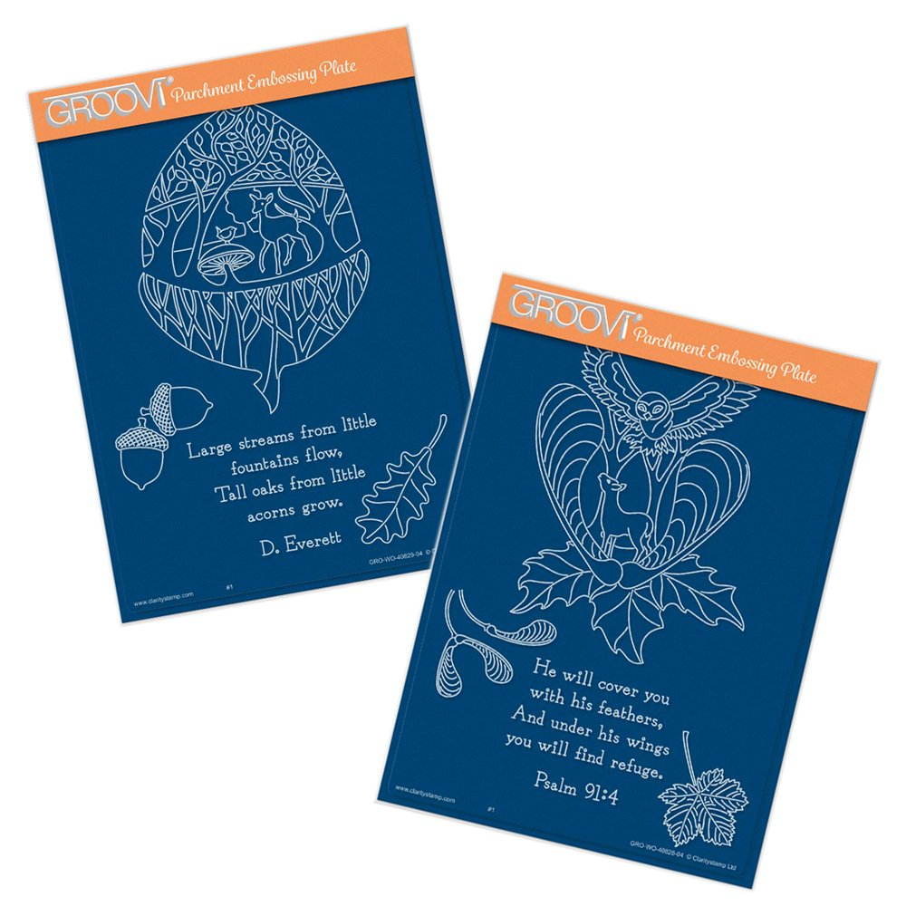 Sycamore & Acorn Poetry - A5 Groovi Plate Set Claritystamp
