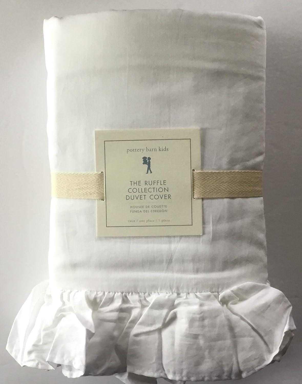Pottery Barn キッズ用フリルコレクション 掛け布団カバー ツインサイズ ホワイト B07P76H6J7