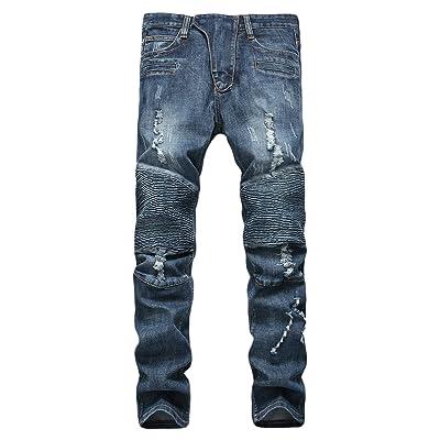 ONTBYB Men Slim Solid Straight Denim Jeans Vintage Style Denim Pants