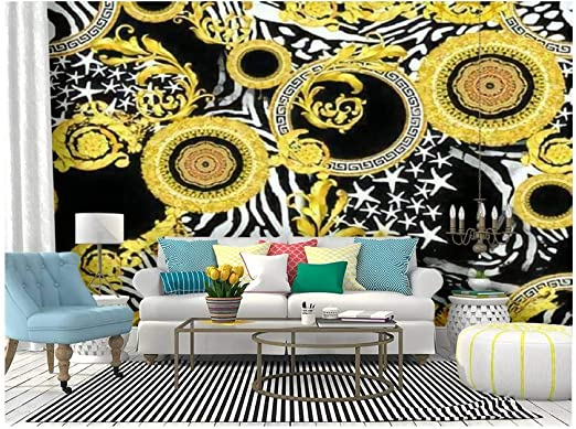 Amazon Com Self Adhesive Wallpaper Roll Paper Dark Yellow And Endless Baroque Shapes Star White Line Print Removable Peel And Stick Wallpaper Decorative Wall Mural Posters Home Covering Interior Film Kitchen
