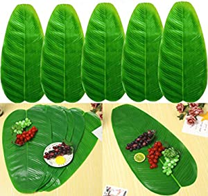 5 PCS Large Artificial Tropical Banana Leaves, 22 by 11inch,Hawaiian Luau Party Jungle Beach Theme Decorations for Table Decoration Accessories
