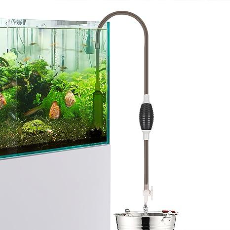 Limpiador de acuarios y peceras con sifón y bomba de vacío, para eliminar pequeños residuos y cambiar el agua ...