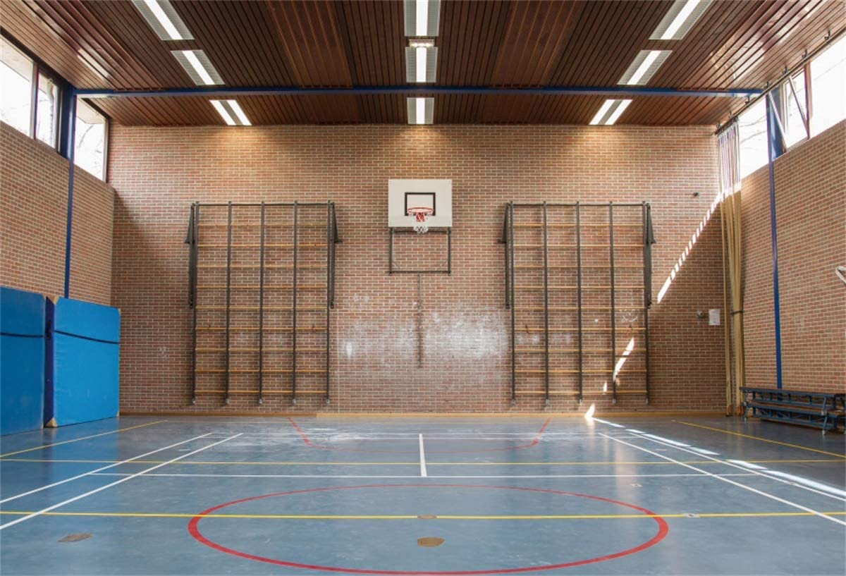 YEELE Indoor Basketball Court Backdrop 12x8ft Interior of a Gym at School Photography Background Sport Theme Room Decoration Kids Adults Portrait Photo Studio Props Digital Wallpaper