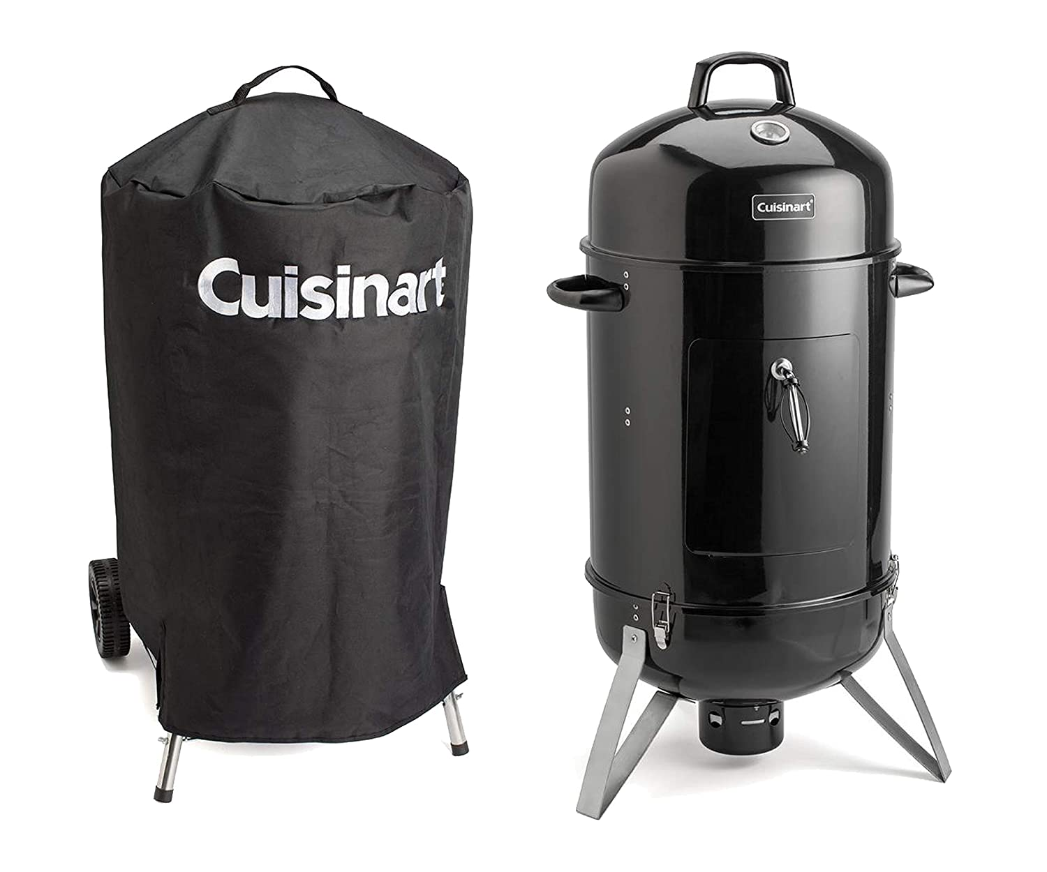 Cuisinart Vertical Charcoal Smoker and Grill with Stainless Steel Cooking Racks and Porcelain-enameled Water Bowl, 16-Inch bundle with Universal Nylon Fabric Kettle Cover with Velcro Straps