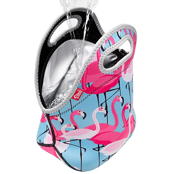 Flamingo 100% Waterproof Double Layer Leakproof Neoprene Insulated Reusable Thermal Lunch Cooler Lightweight Zippered Tote for Adult or Kids