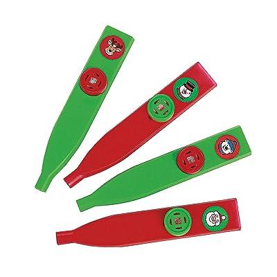 Fun Express Holiday Kazoos (Set of 24) for Christmas - Toys - Noisemakers - Kazoos & Whistles - Christmas - 24 Pieces: Toys & Games