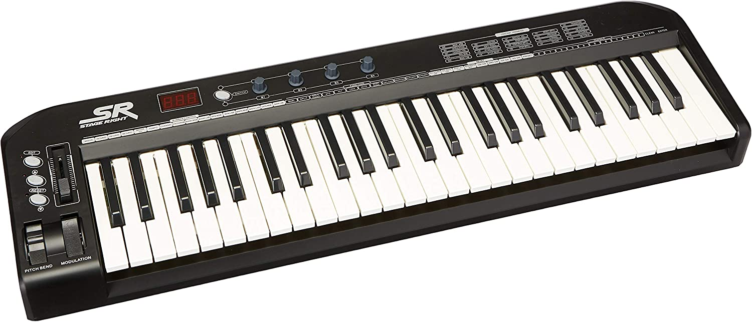 Amazon.com: Monoprice 606607 MIDI Keyboard Controller - Black, 49 Key |  Pitch-bend & Modulation wheels, Driverless plug and play for Windows and  Mac PCs - Stage Right Series: Musical Instruments