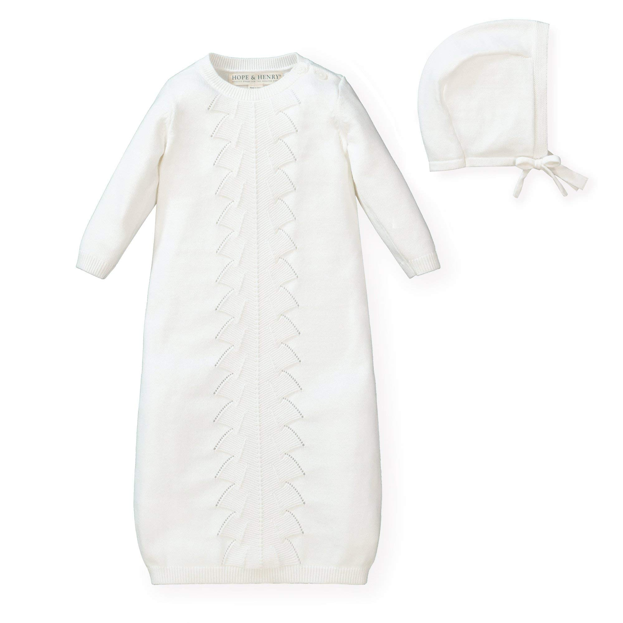 Hope & Henry Layette Long Sleeve Sweater Gown and Bonnet 2-Piece Set by Hope & Henry