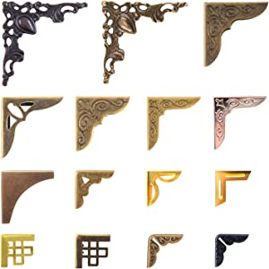 60 PCS Metal Book Corner Protector 15 Styles Vintage Bronze Gold Guard Edge Cover Metal Furniture Decorative Cover for Jewelry Case Box Books Notebooks Scrapbooks Albums Menus Diary Stamp Books